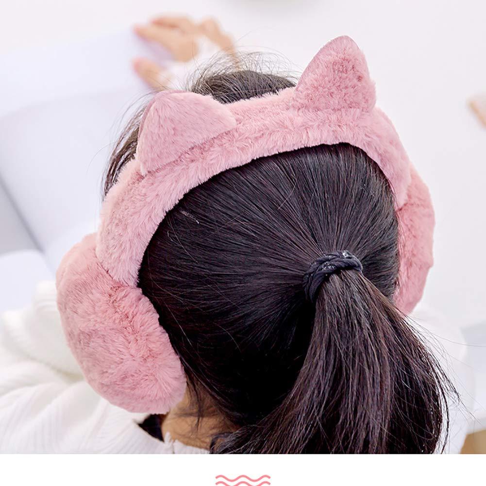 Romote 1pc Femme Oreille Oreille Chaud Earmuffs Chat dhiver Chauds Doux Pliable Bonneterie Earmuffs avec Sequin pour Fille Noir