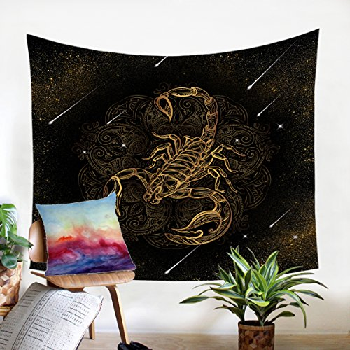 (Sleepwish Black and Gold Tapestry Meteor Scorpion Tapestry Animal Insect Pattern Tapestry Wall Hanging College Dorm Boys Bedroom Decor (60