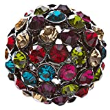 ACCESSORIESFOREVER Women Modern Fashion Crystal Pave Dome Round Stretch Multi-colored Ring R78 MT