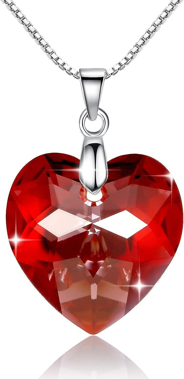 GOSPARKLING Corazón de Cristal Colgante, Collar de Plata esterlina con el Cristal austríaco para Las Mujeres (Red Magma)