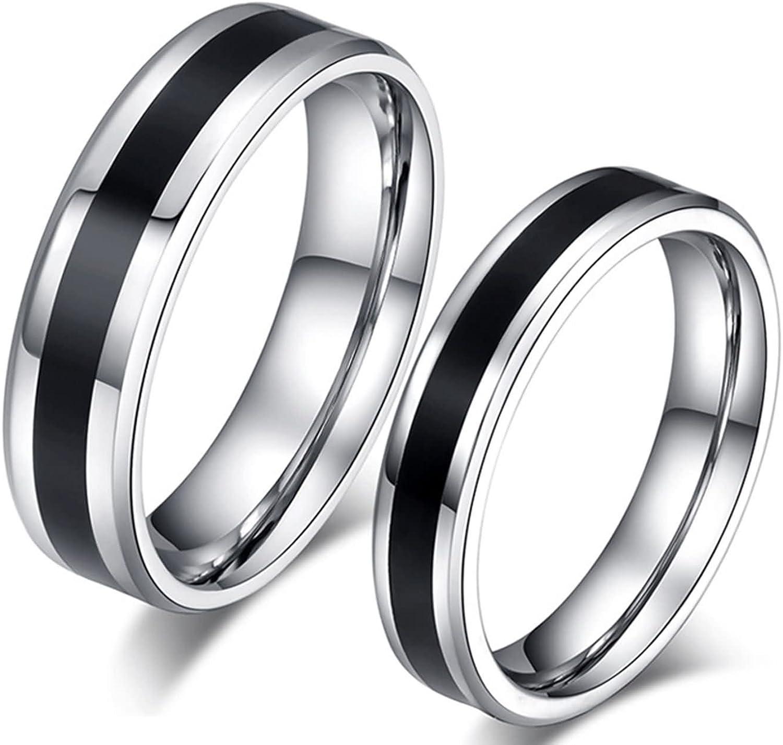 Amtier Anneaux en Acier Inoxydable pour Couple Alliances de Mariage Bague pour Homme Femme 5mm avec Bo/îte-Cadeau
