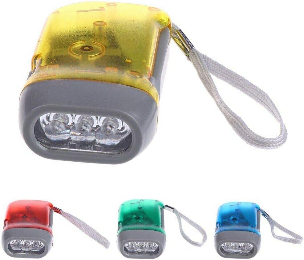 No Battery Hand Crank Wind Up Flashlight Car Kid Shake LED Light Flashlights US