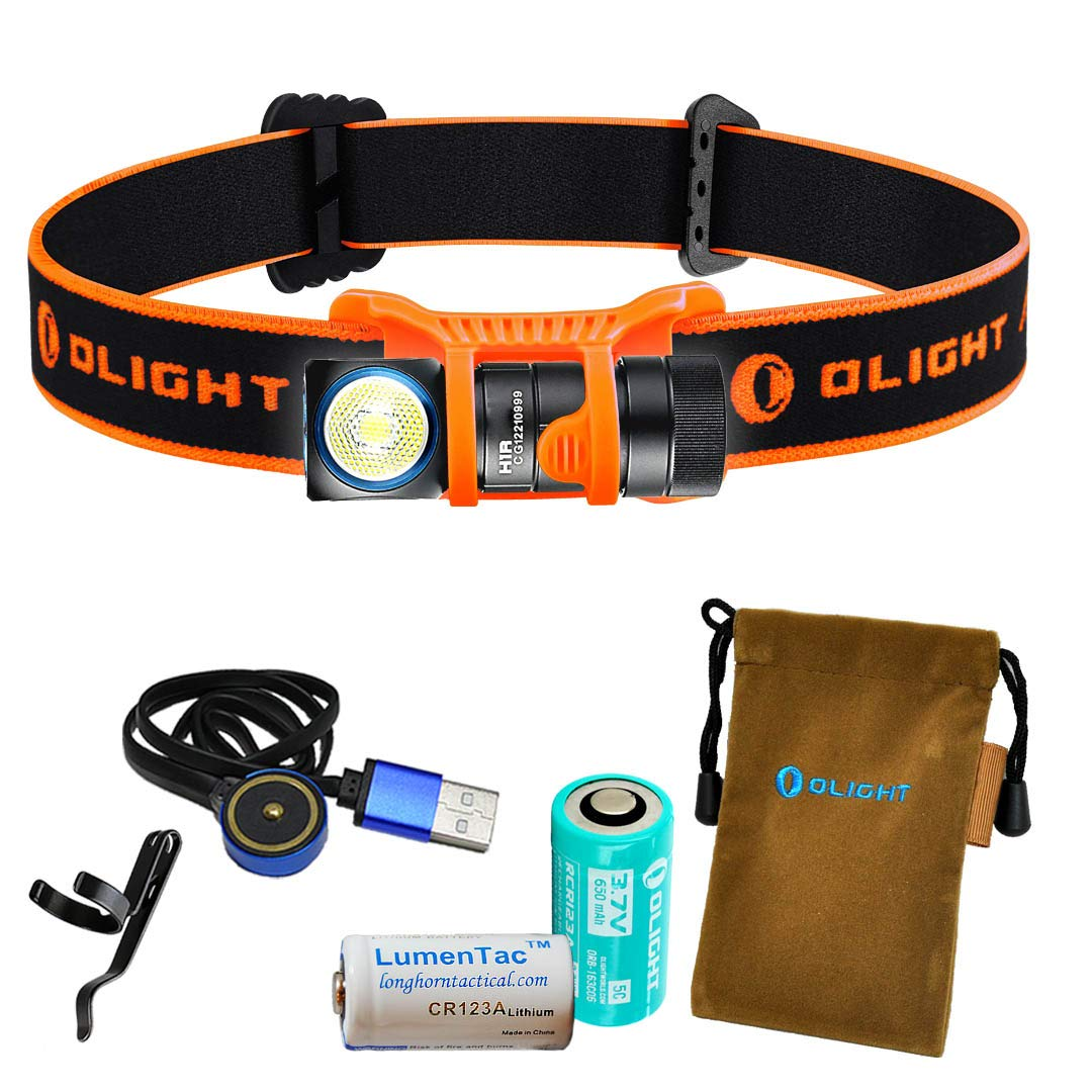 OLIGHT H1R 600 Lumens Rechargeable LED Headlamp w RCR123A Battery, Magnetic USB Charging Cable, and LumenTac CR123A Battery (Orange, Cool White) by OLIGHT