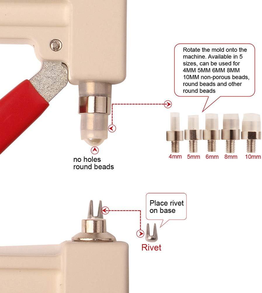 Jourad Hand Press Pearl Setting Werkzeugmaschinen f/ür DIY Handwerk liefert Nachahmung Runde Perle Zubeh/ör mit 2 Boxen von Nicht-por/ösen Perlen