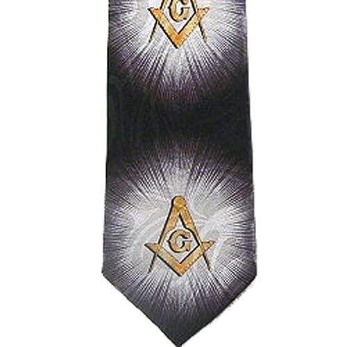 Masonic Regalia - Tie for Free Mason Suit Formal Attire  Black and Gold  Polyester long necktie  Bursts of Light Masonic pattern design - Compass &