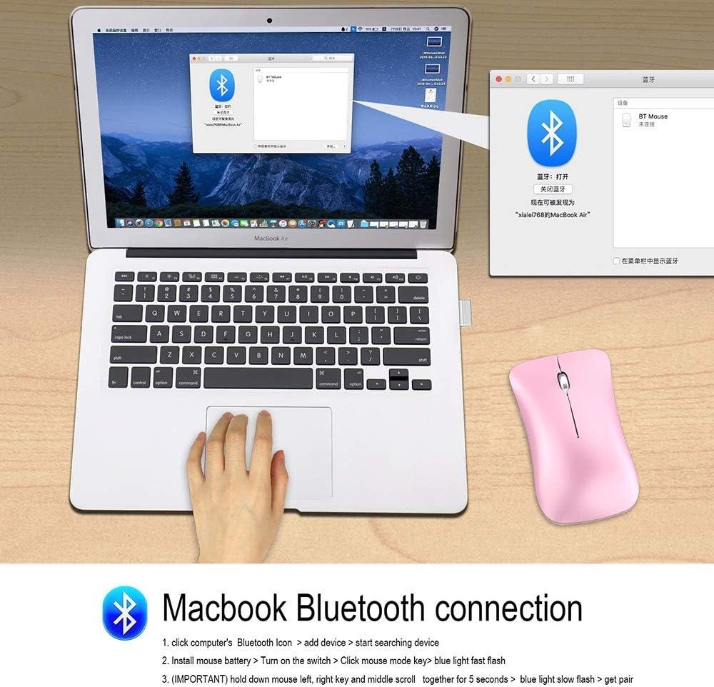 Souris sans Fil Rechargeable Bluetooth Double Mode Bluetooth 2.4G Souris sans Fil Adaptée Aux Jeux De Bureau Souris sans Fil Hautes Performances Pink