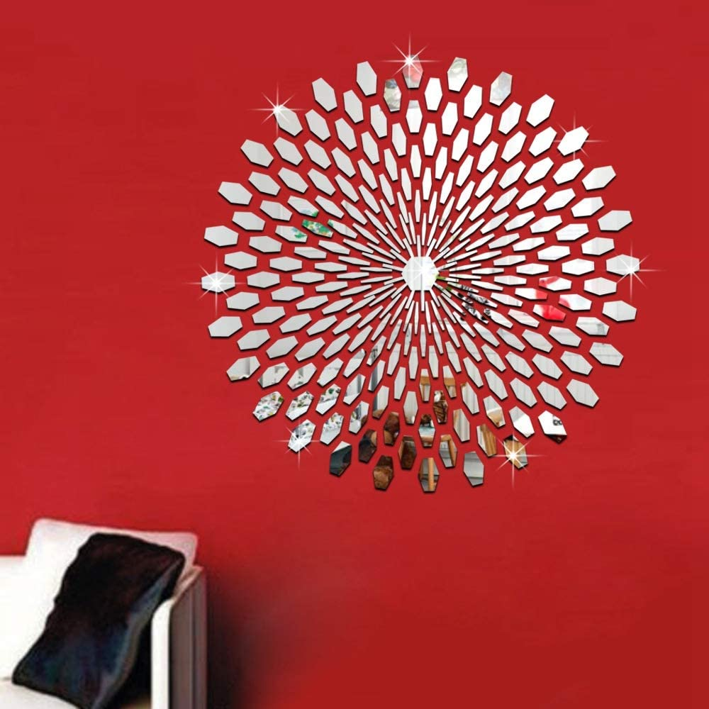 SINOKF DIY Circle Mirror Wall Decals, 225 PCS Creative Self Adhesive Mirror Wall Decor, Mirror Art Sticker, Non-Glass Plastic Mirror