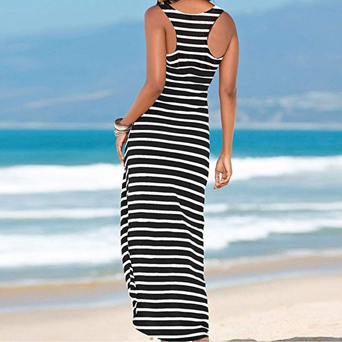 WESIDOM Maxi Dress for Women,Striped Sexy Sleeveless O-Neck Ankle-Length Casual Sundress, Party Long Dresses for Women Black by WESIDOM (Image #2)