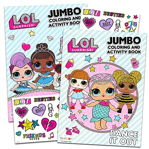 Lol Dolls Coloring Books Party Set - Bundle Includes 2 Lol Dolls Activity Books and 2 Temporary Tattoos Packs (Party Supplies)