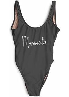 a36749481ce MAXIMGR Women's Mamacita Letter Print Sexy High Cut Backless One Piece Swimsuit  Swimwear