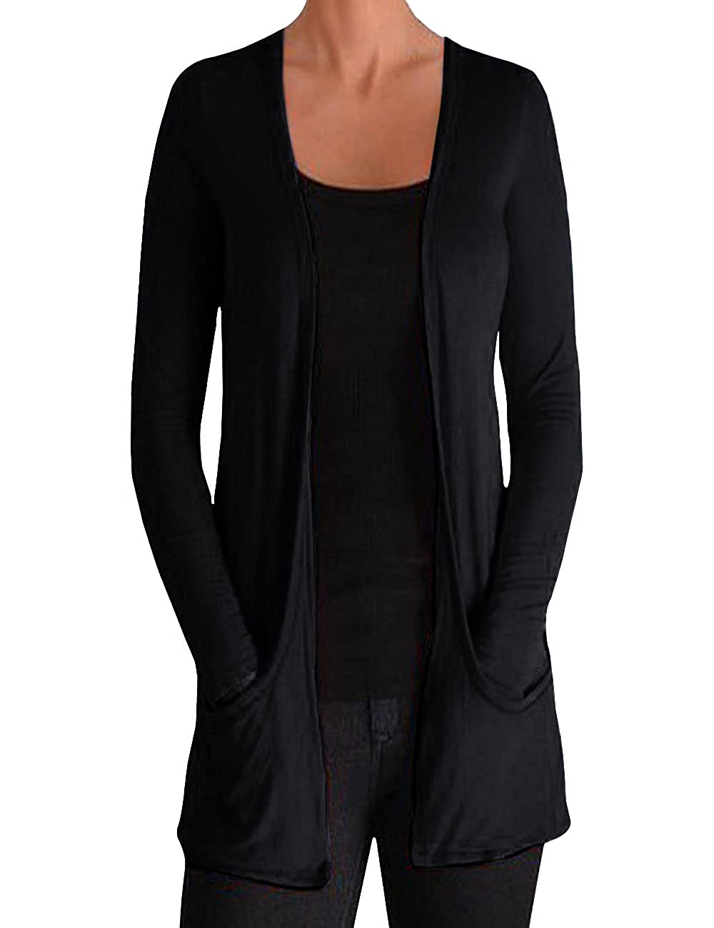 ISASSY Women's Ladies Long Sleeve Pocket Boyfriend Cardigan Top