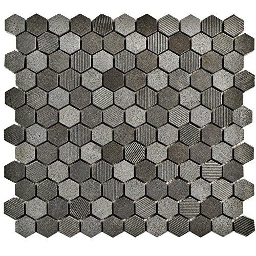 SomerTile FSHSHXBL Egitura Hex Lava Volcanic Stone Mosaic Floor and Wall Tile, 11
