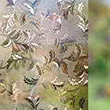 RABBITGOO Frosted Window Film Non-Adhesive Decorative Leaf Static Cling Privacy Glass Film, 17.7in. By 78.7in. (45x200CM), Brown