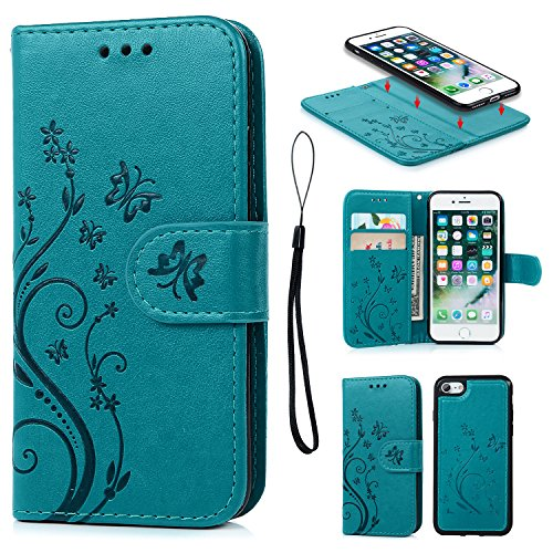 iPhone 7 Case, iPhone 8 Wallet Case PU Embossed Butterfly Flower Leather Detachable Wallet with Card Holder and ID Slot Cover for iPhone 7 & iPhone 8 4.7 inch Blue