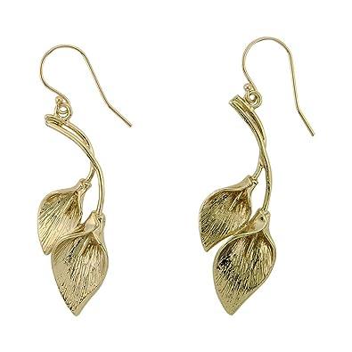 Lily Jewelry Ladies Fashion Gold Tone Flowers Swarovski Elements Crystal Stud Earings for Women Epi90Yo