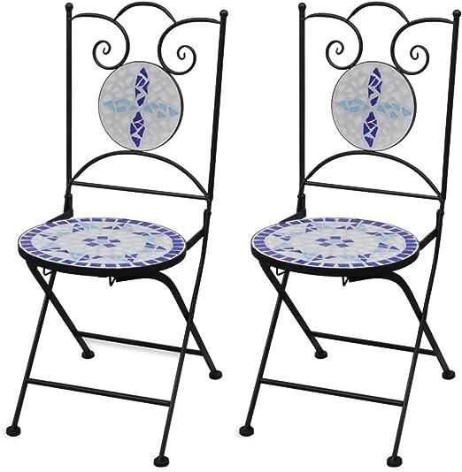 vidaXL Set 2 sillas Mosaico Asiento de cerámica jardín terraza balcón azúl y Blanco: Amazon.es: Jardín