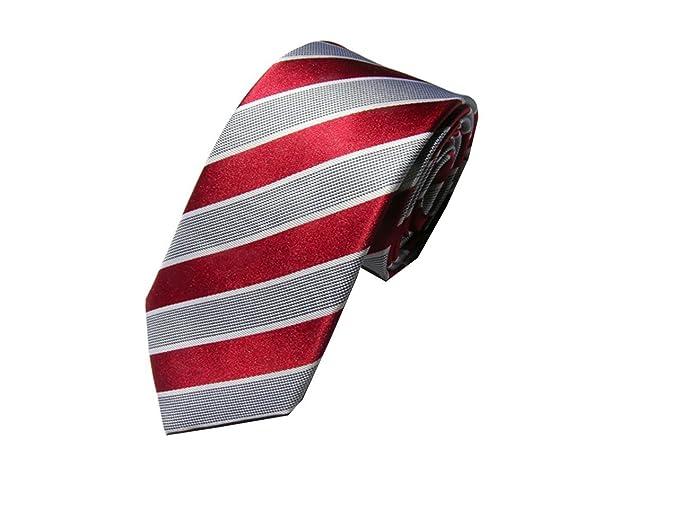 HXCMAN 7cm Rojo Plateado rayas 100% seda slim skinny corbata diseño ...