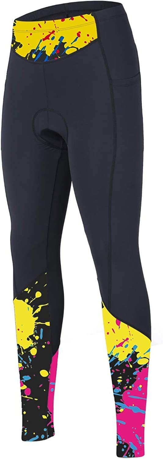 beroy Women 3D Padded Cycling Pants with Adjust Drawstring,Ladies Compression Tights Bike Pants(M Yellow)