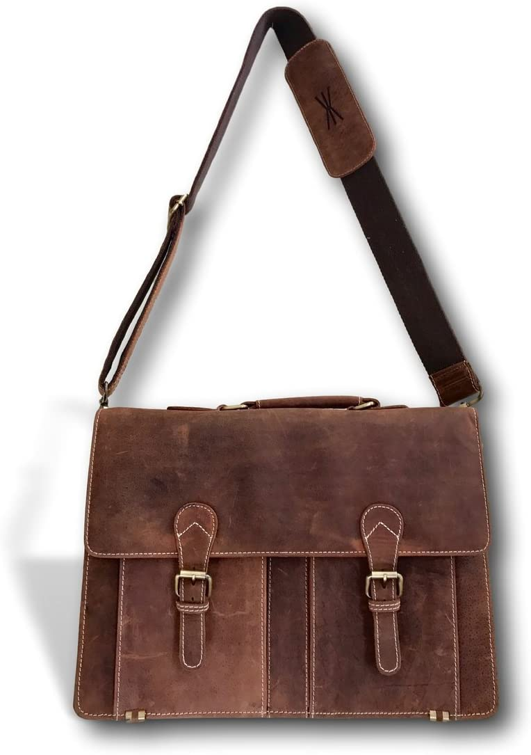 Brown Genuine Leather Briefcase – 18 Inch Handmade Full Grain Laptop City Bag for Men and Women Adjustable 57 Satchel Style Strap by Kauri Design
