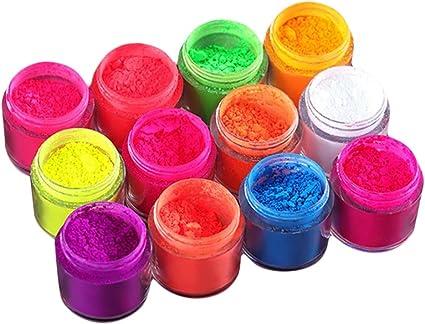 Perfeclan 12 colores luminosos Fluorescent Dust Powder Tipps ...