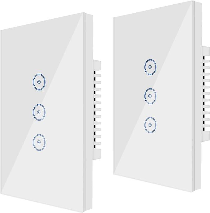 23 opinioni per Wi-Fi (2 PCS) Smart Light Switch 3 Gang Jinvoo US Panel Switch, Smart Phone