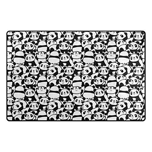 My Daily Cute Panda Cartoon Area Rug 20'' x 31'', Door Mat for Living Room Bedroom Kitchen Bathroom Decorative Lightweight Foam Printed Rug by ALAZA