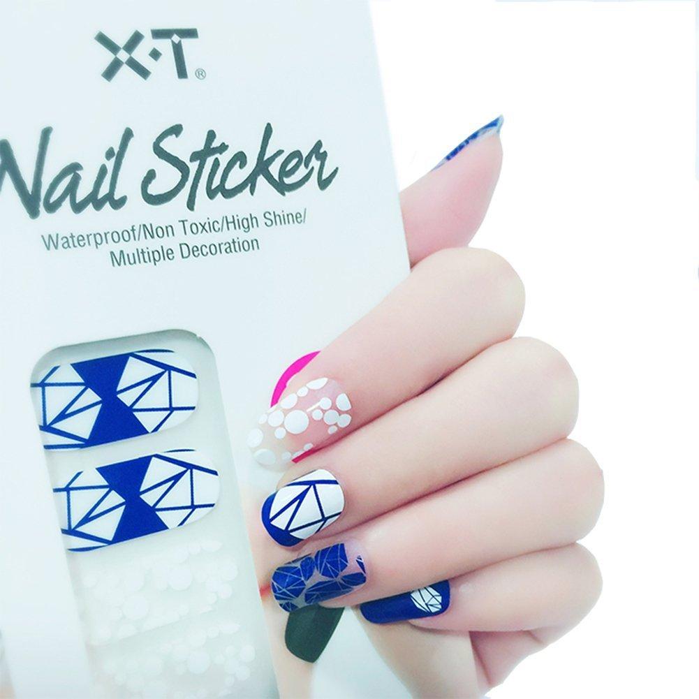 Amazon.com: X.T Nail Polish Strips blue diamond Nail Sticker: Beauty