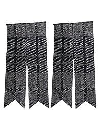 Scottish Kilt Sock Flashes various Tartans/Highland Kilt Hose Flashes pointed (Highland Grey)