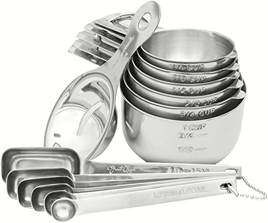 Free Egg Separator. Measuring Cups and Spoons Set of 16 Durable and Stackable Stainless Steel 7 Measuring Cups and 6 Measuring Spoons with 2 Rings
