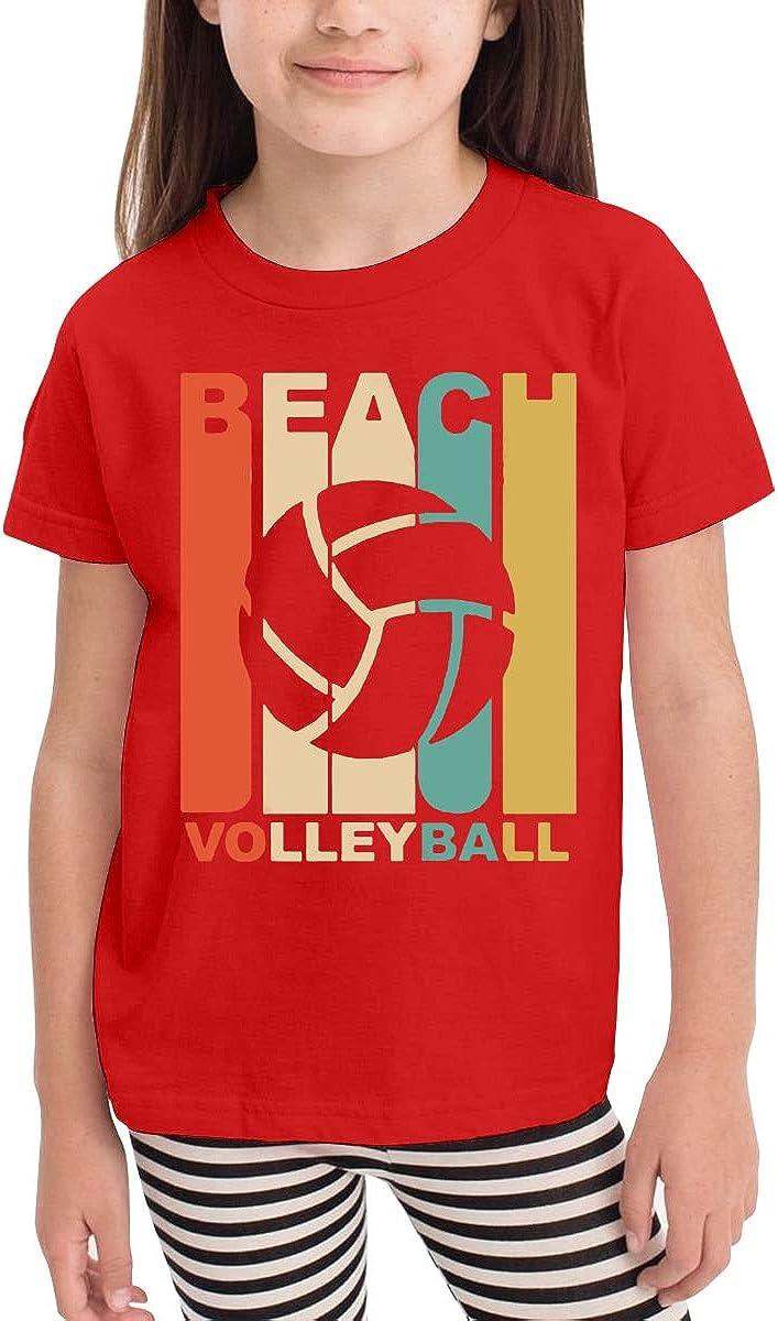 Kids T-Shirt Tops Black Beach Volleyball Unisex Youths Short Sleeve T-Shirt
