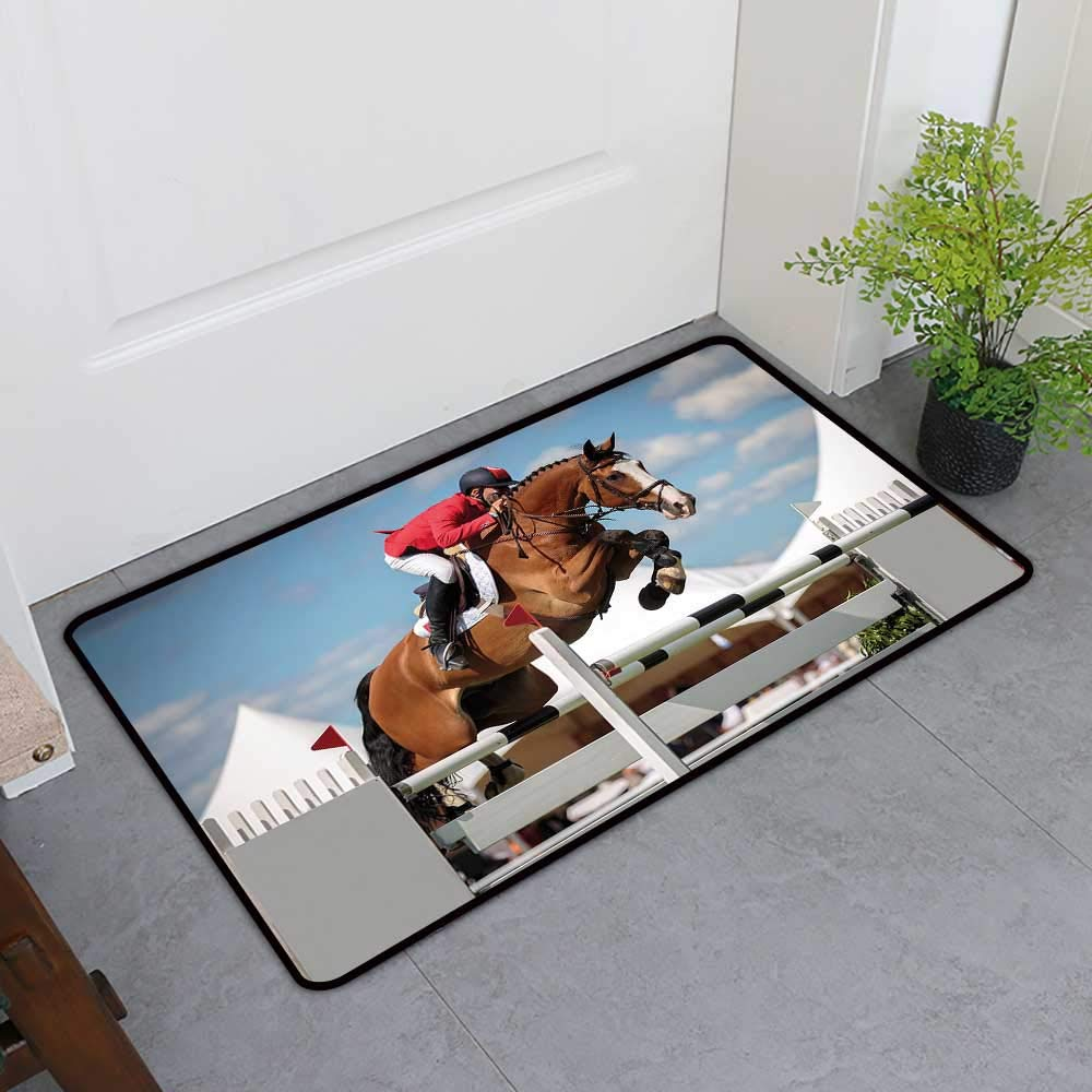 TableCovers&Home Low-Profile Mat, Horse Decor Doormats for High Traffic Areas, Jumping Horse and Sportsman Race Competition Performance Success Winning Event (Multicolor, H36 x W60)