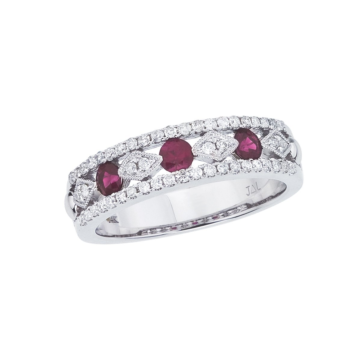 Amazon 042 Carat Ctw 14k Gold Round Red Ruby And Diamond Vintage Fashion Wedding Anniversary Band Ring 32 X Mm Jewelry: Ruby Wedding Anniversary Bands At Reisefeber.org