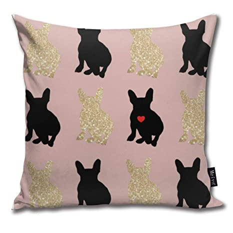Zara-Decor Frenchie Love Silhouette Home Funda de cojín ...
