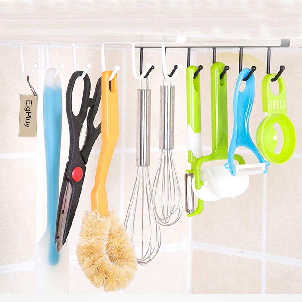 EigPluy 2pcs Mug Hooks Cups Wine Glasses Storage Hooks Kitchen Utensil Ties Belts and Scarf Hanging Hook Rack Holder Under Cabinet Closet Without Drilling,Black by EigPluy (Image #6)