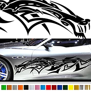 Amazon com dragon car sticker car vinyl side graphics 135 car vinylgraphic custom stickers decals【8 colors to choose from】 japan quality automotive