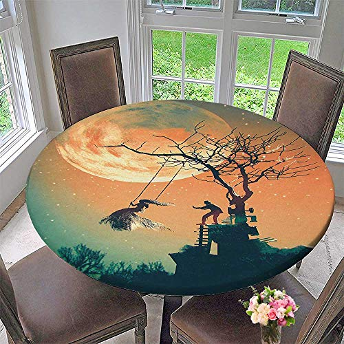 Mikihome Round Premium Tablecloth Decor Spooky Night Zombie Bride and Groom Lady on Swing Under Starry Sky Stain Resistant 43.5