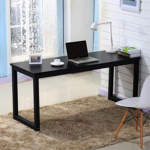 Office Desk 55in Large Study Computer Writing Table Workstation for Home and Office, Black Wooden Top and Black Metal Leg (Desk Black Metal Workstation)
