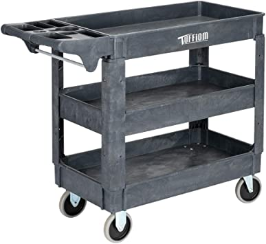 Amazon Com Tuffiom Plastic Service Utility Cart Support Up To 550lbs Capacity Heavy Duty Tub Storage Cart W Deep Shelves Multipurpose Rolling 3 Tier Mobile Storage Organizer For Warehouse Garage Kitchen Dining