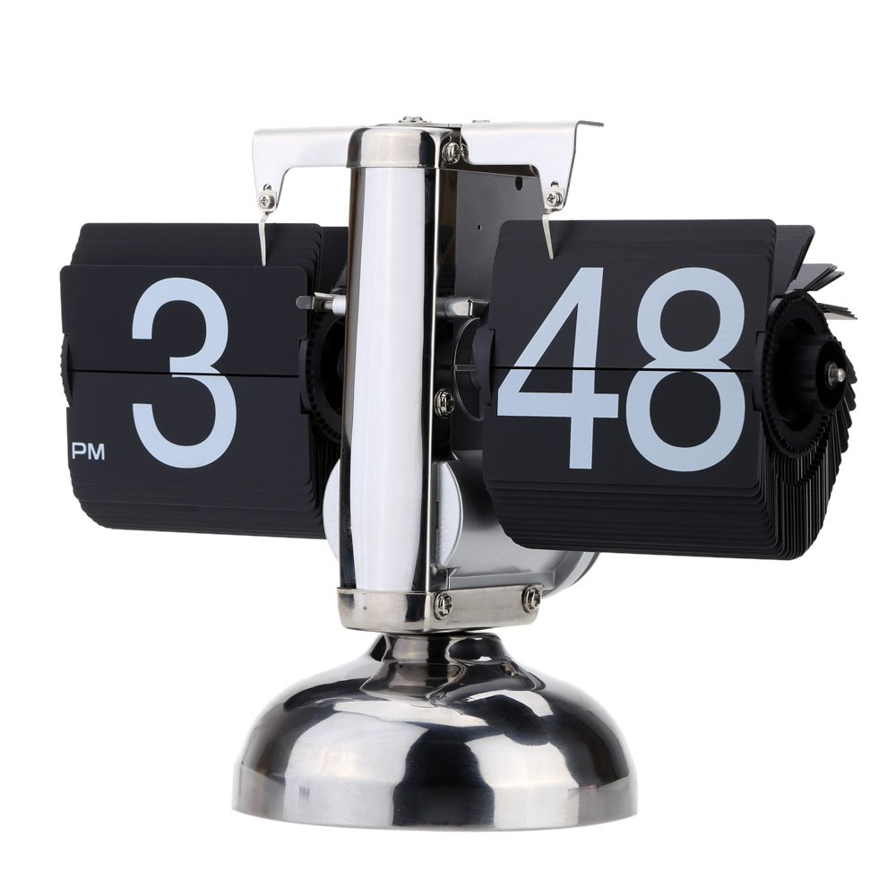 Anself Small Scale Table Clock Retro Flip Over Clock Stainless Steel Flip Internal Gear Operated Quartz Clock