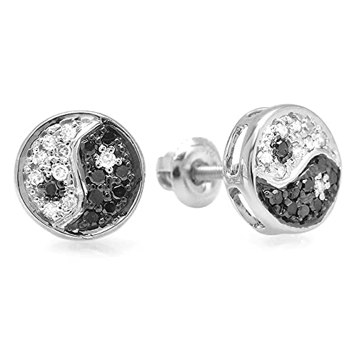 Dazzlingrock Collection 0 25 Carat (ctw) 10k Black & White Round Diamond  Yin Yang Ladies Stud Earrings, White Gold
