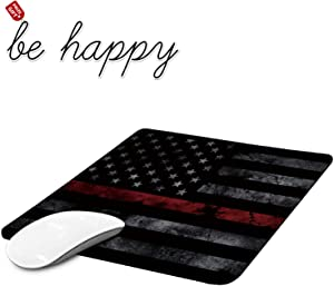 Gaming Mouse Pad Black American Flag Mouse Pads for Laptop Non-Slip Rubber Base Mousepad Computers and Office, Rectangle Cute Mouse Mats and Be Happy Computer Stickers