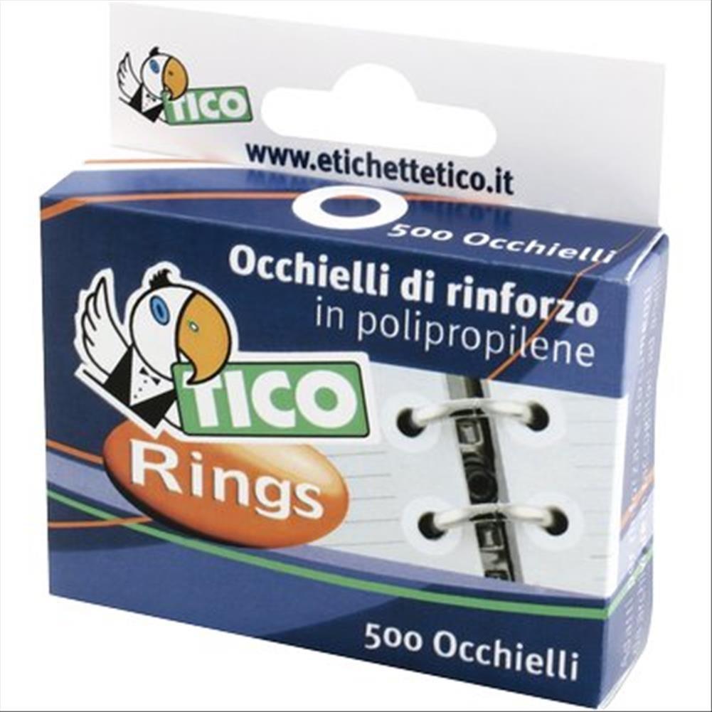 Tico 947928 - Occhielli di rinforzo in Polipropilene, Bianco
