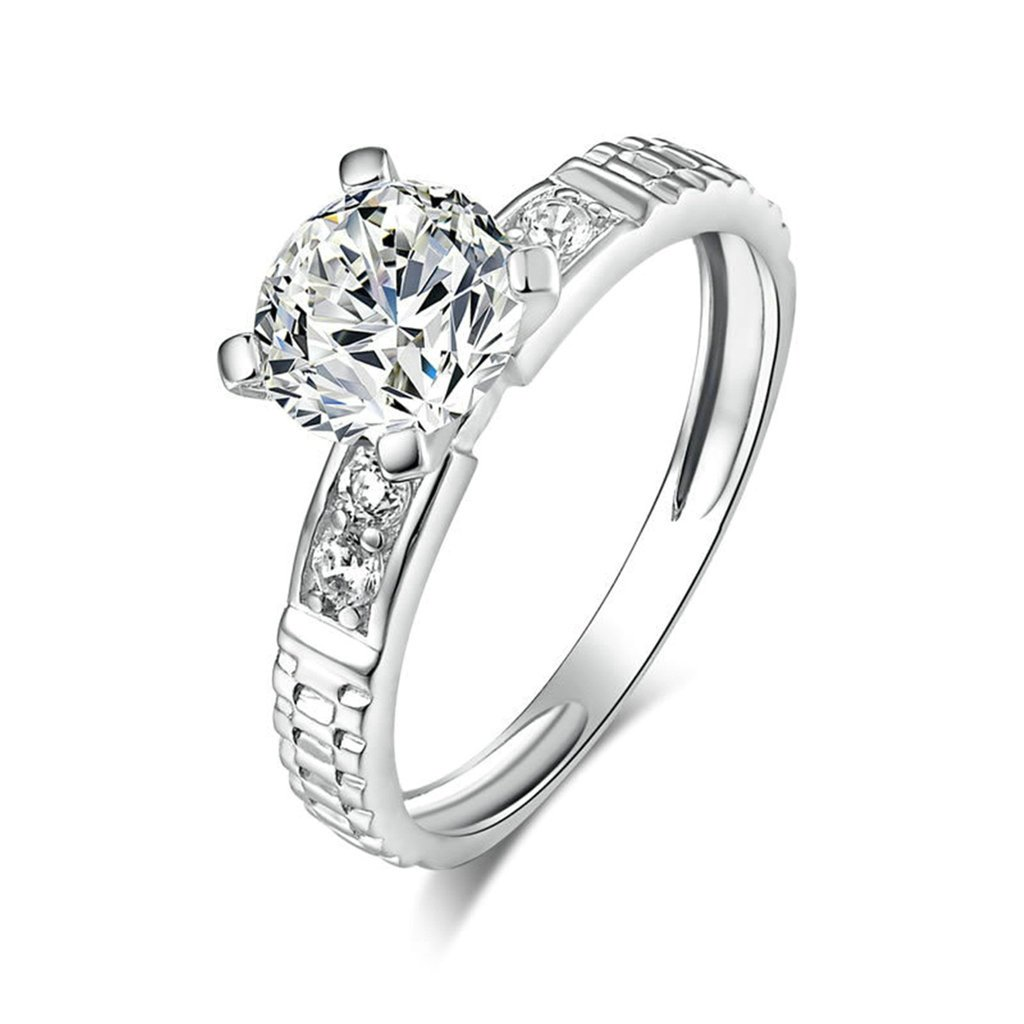 Daesar Silver Plated Rings Womens Engagement Rings Custom Ring Halo Round Cubic Zirconia Ring