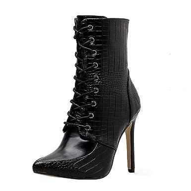 dd70031671e63 Femme Bottes Stiletto,Chaussure LuckyGirls Nouveau Automne Hiver Mode  Bottine Plateforme Sexy Stiletto Femme Boucle