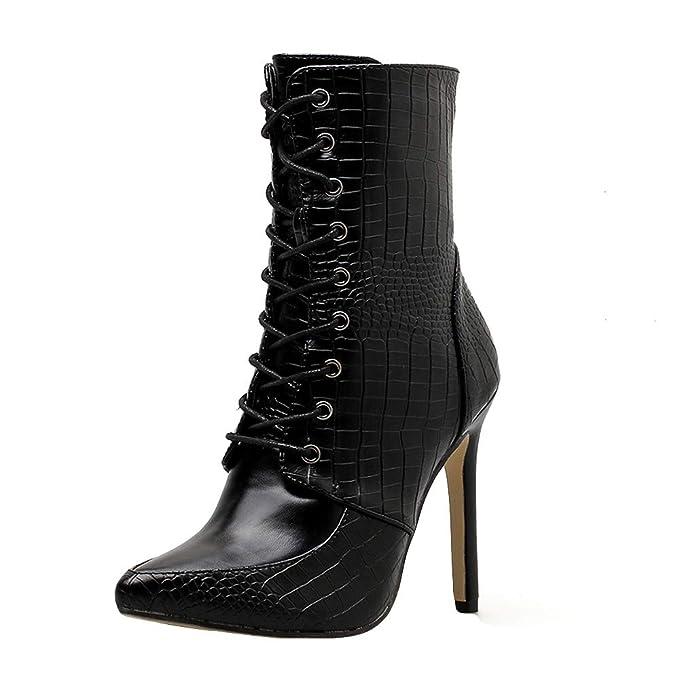 ❤ Botas de Caballero para Mujer, Moda Mujer Piel de Serpiente Zapatos de tacón Alto Sexy Thin Heels Cremallera Botas Absolute: Amazon.es: Ropa y ...