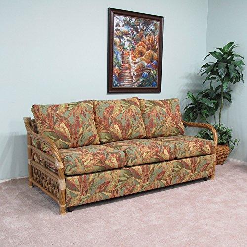 Made in USA Premium Rattan Hardwood Twist Queen Sofa Sleeper