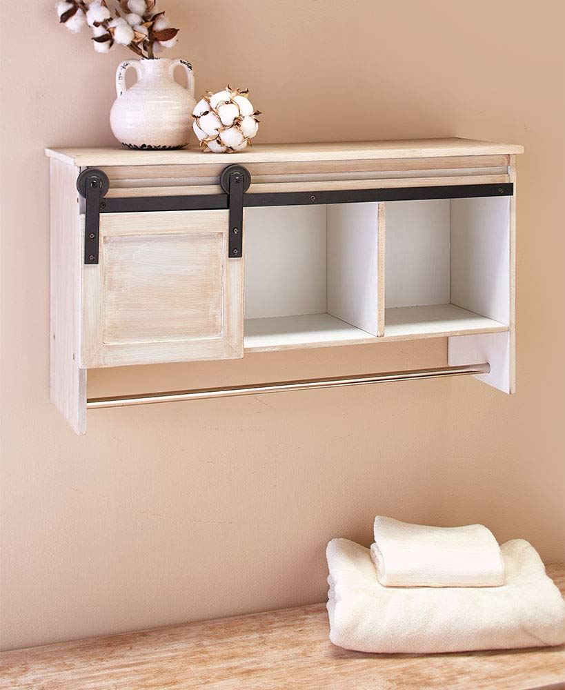 The Lakeside Collection Barn Door Laundry Cabinet - Antique White