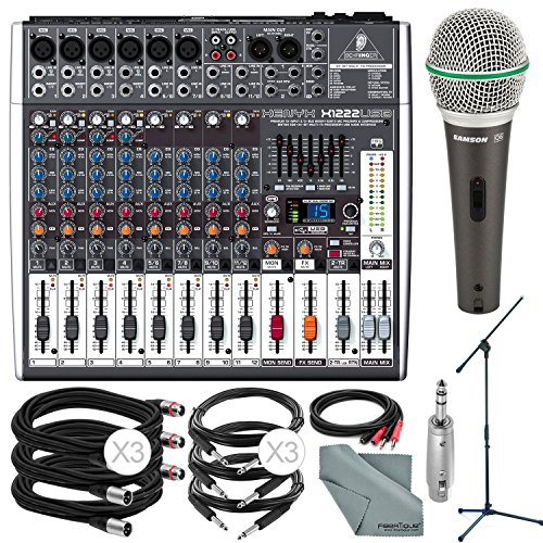 (Photo Savings Behringer XENYX X1222USB 16-Input USB Audio Mixer with Effects and Deluxe Bundle w/Samson Q6 Mic & Stand + 7X Cables + More)