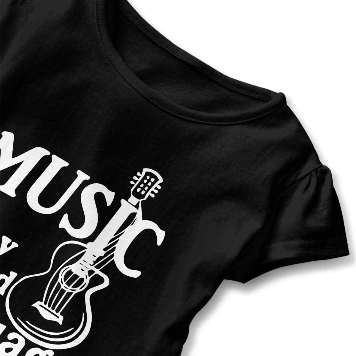 Cheng Jian Bo Music is My Second Language Guitar Toddler Girls T Shirt Kids Cotton Short Sleeve Ruffle Tee