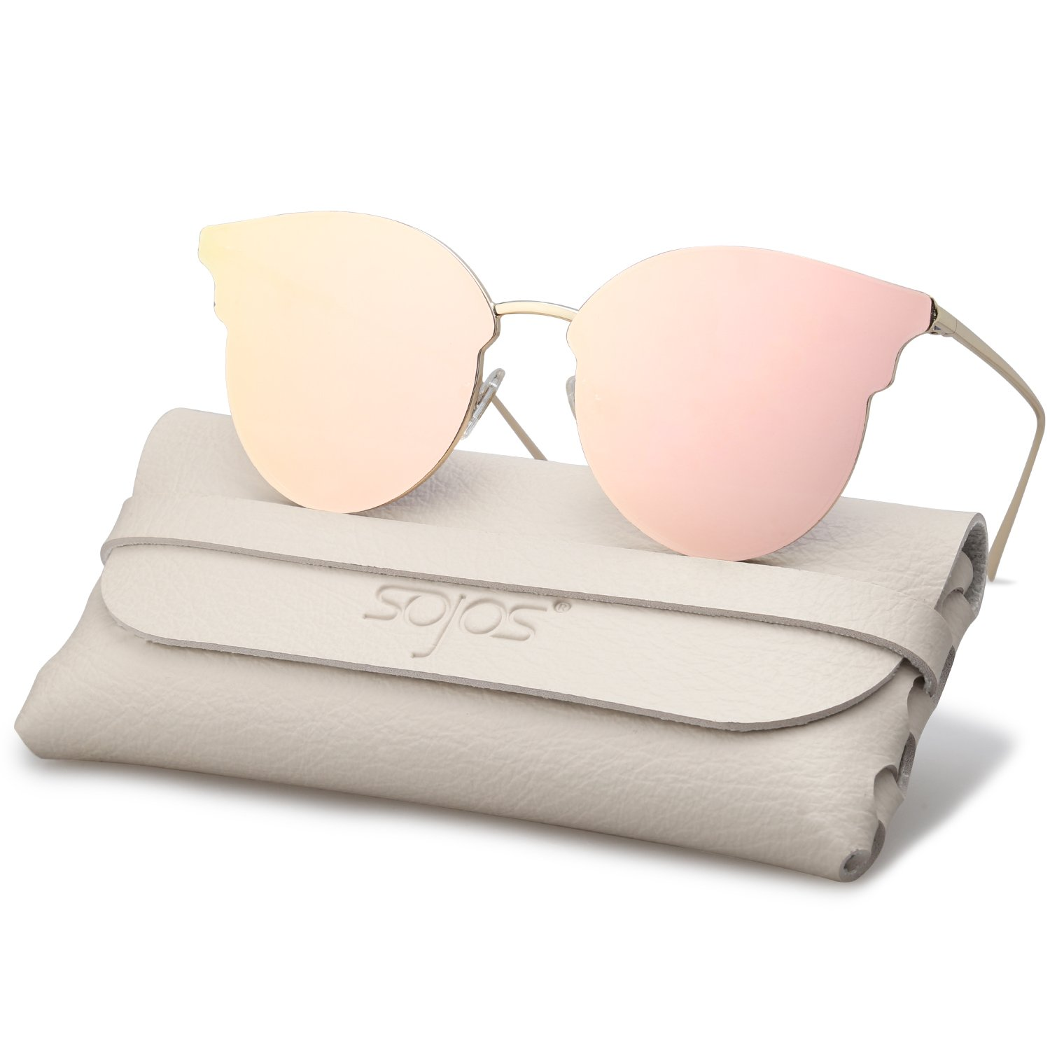 SojoS Fashion Oversized Cateye Sunglasses for Women Flat Mirrored Lens SJ1055 (1055SC2 Gold Frame/Pink Mirrored Lens, 55)